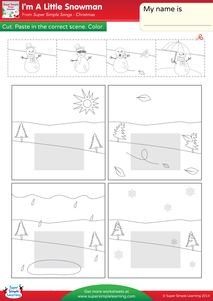 I\'m A Little Snowman Worksheet – Weather | Super Simple