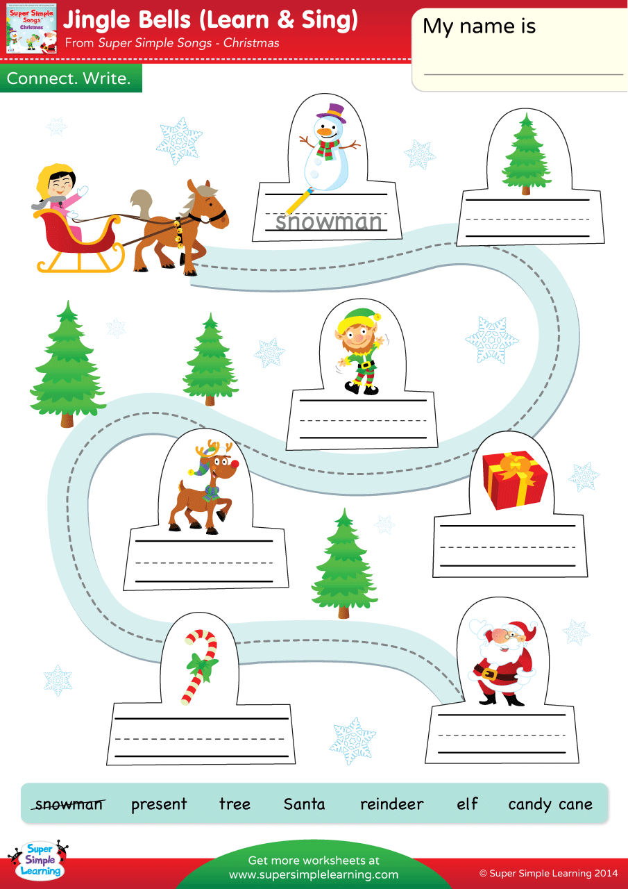 Jingle Bells Worksheet – Connect & Write | Super Simple