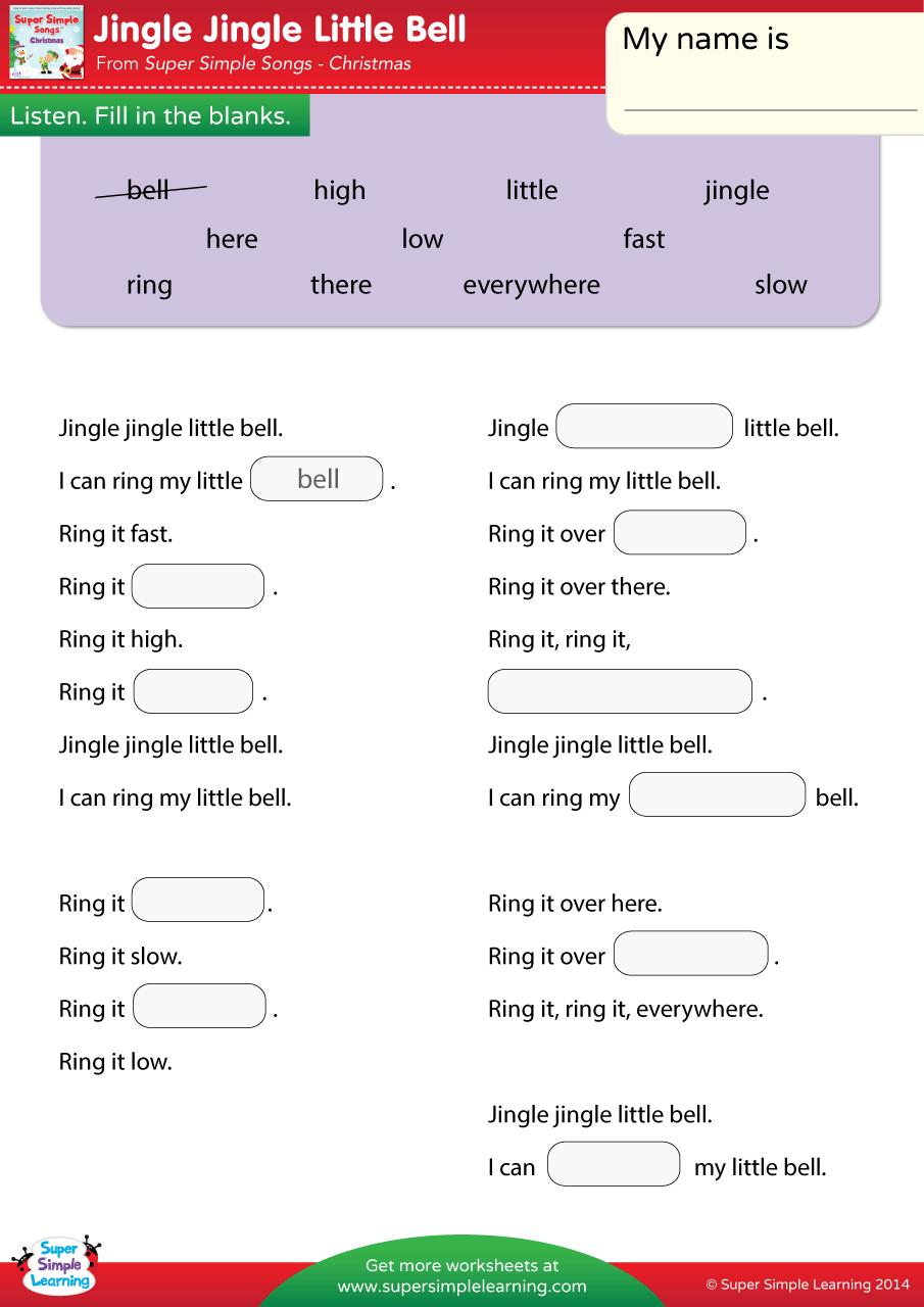Jingle Jingle Little Bell Worksheet Fill In The Blanks