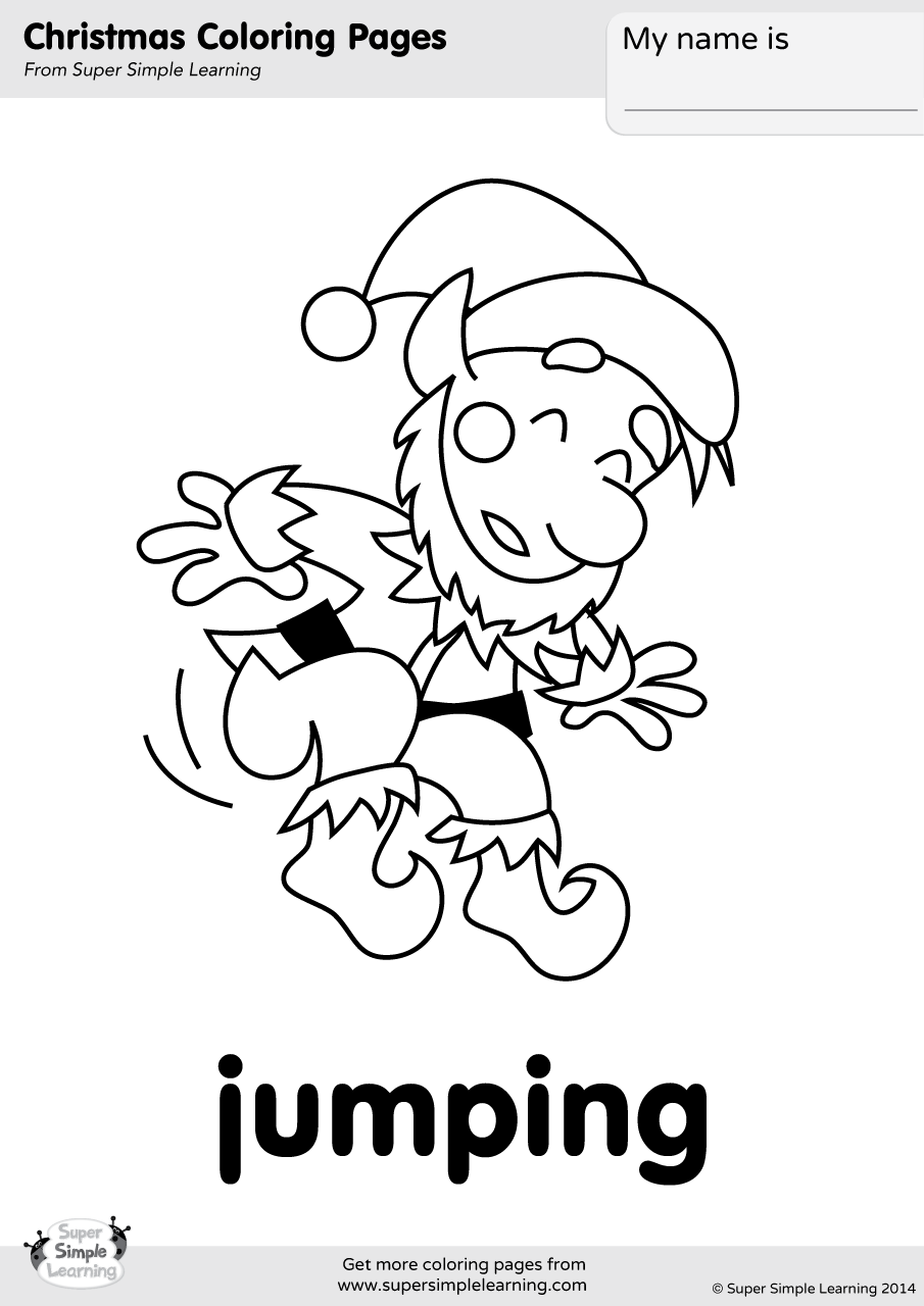 Jumping coloring page super simple