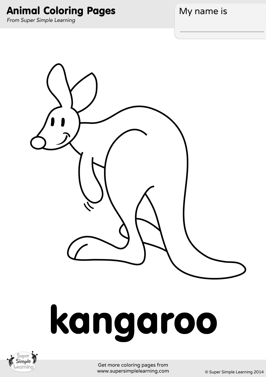 Kangaroo Coloring Page | Super Simple