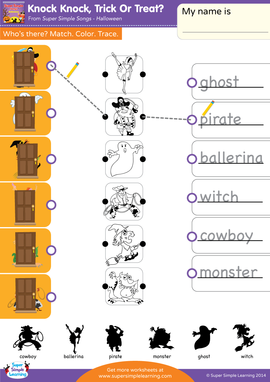 Knock Knock Trick Or Treat Worksheet Match Color
