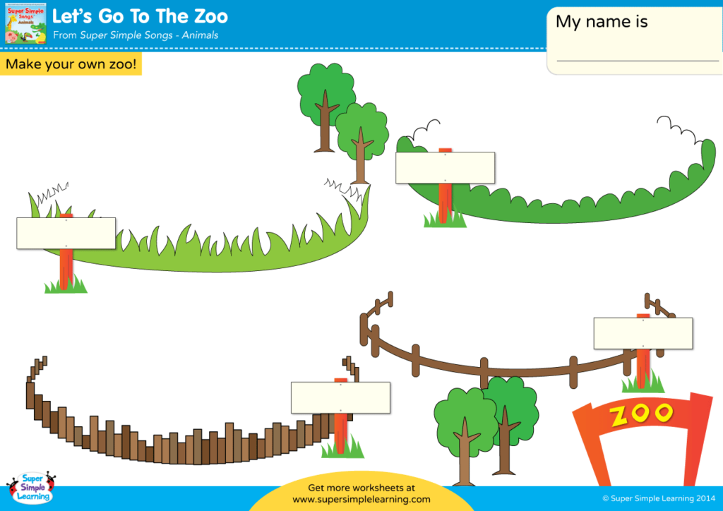 Let's Go To The Zoo Worksheet - Make Your Own Zoo - Super Simple