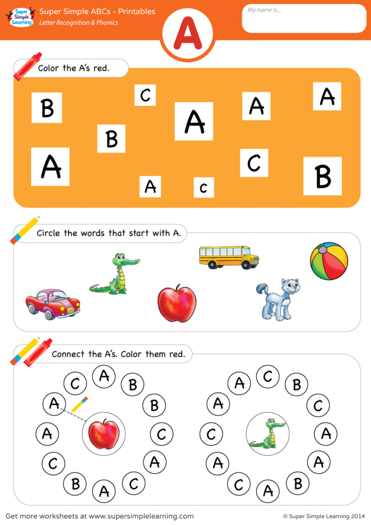 Letter Recognition & Phonics Worksheet - A (Uppercase ...