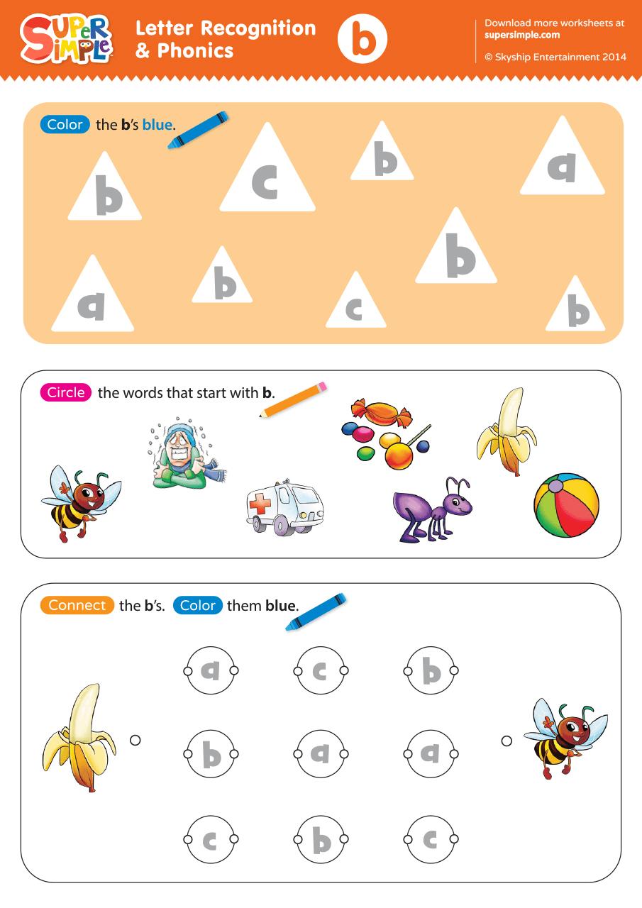 Letter B Phonics Worksheets : Letter recognition phonics worksheet b lowercase