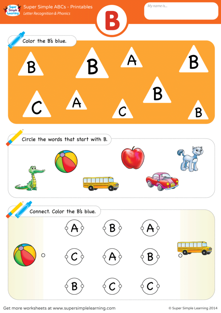 Letter Recognition & Phonics Worksheet - B (Uppercase) - Super Simple