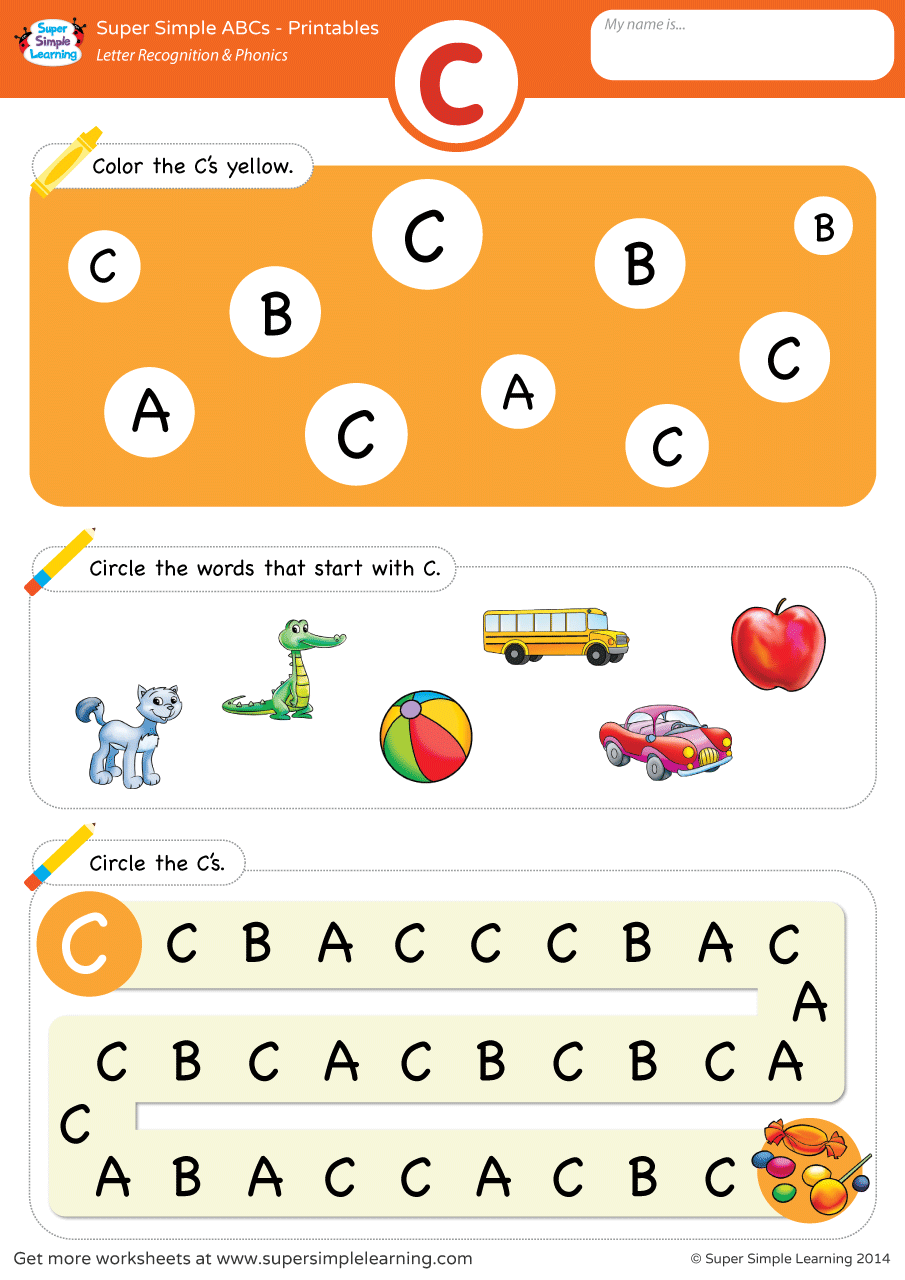 Letter Recognition & Phonics Worksheet - C (Uppercase ...
