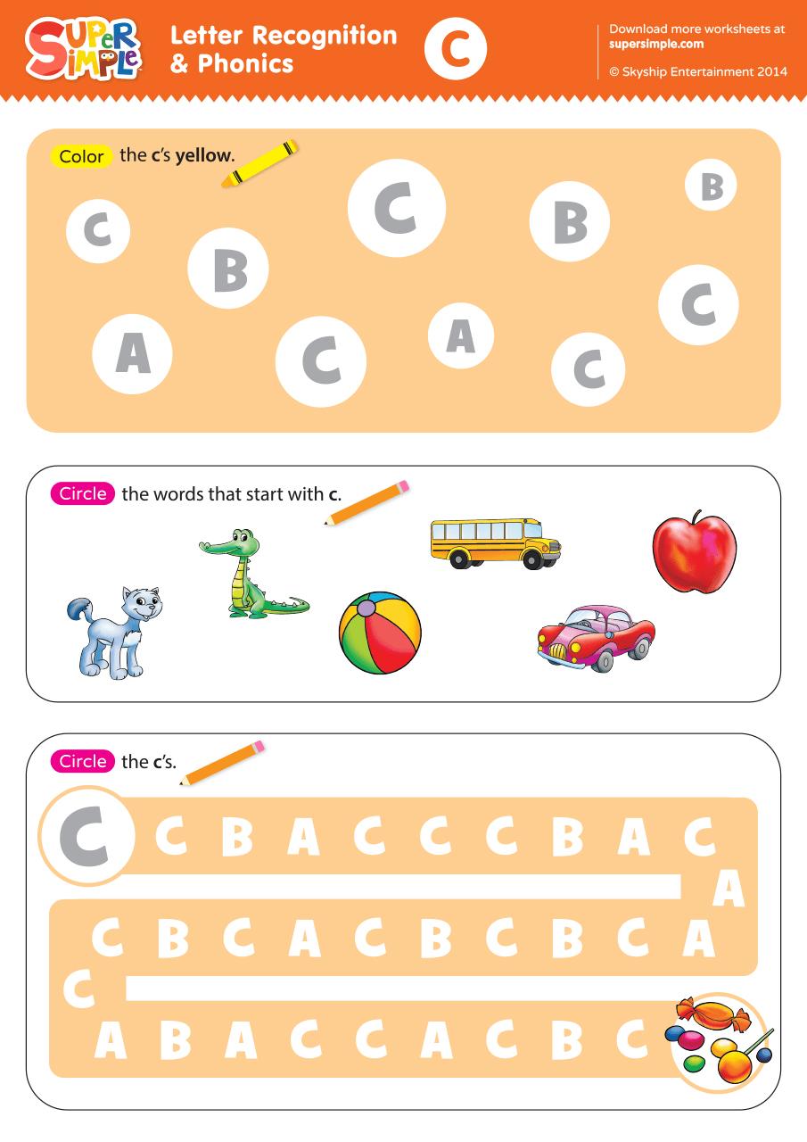 Worksheets Letter Identification Worksheets letter recognition phonics worksheet c uppercase super simple