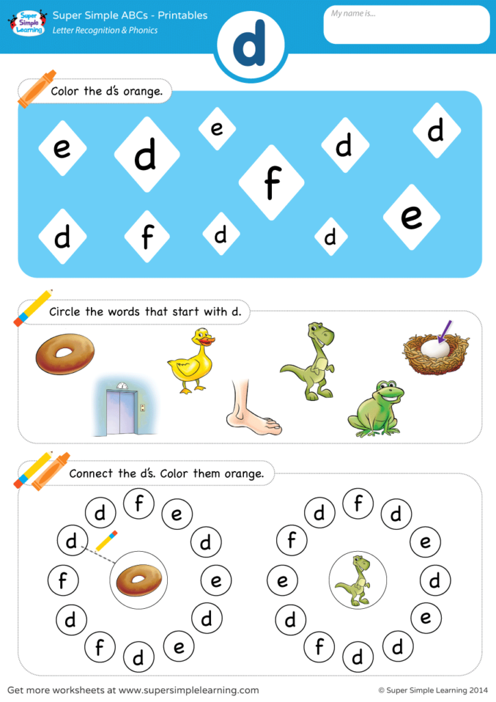 letter recognition phonics worksheet d lowercase super simple. Black Bedroom Furniture Sets. Home Design Ideas