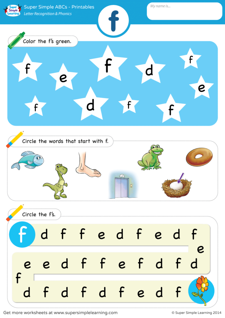 Letter Recognition & Phonics Worksheet - F (lowercase) - Super Simple