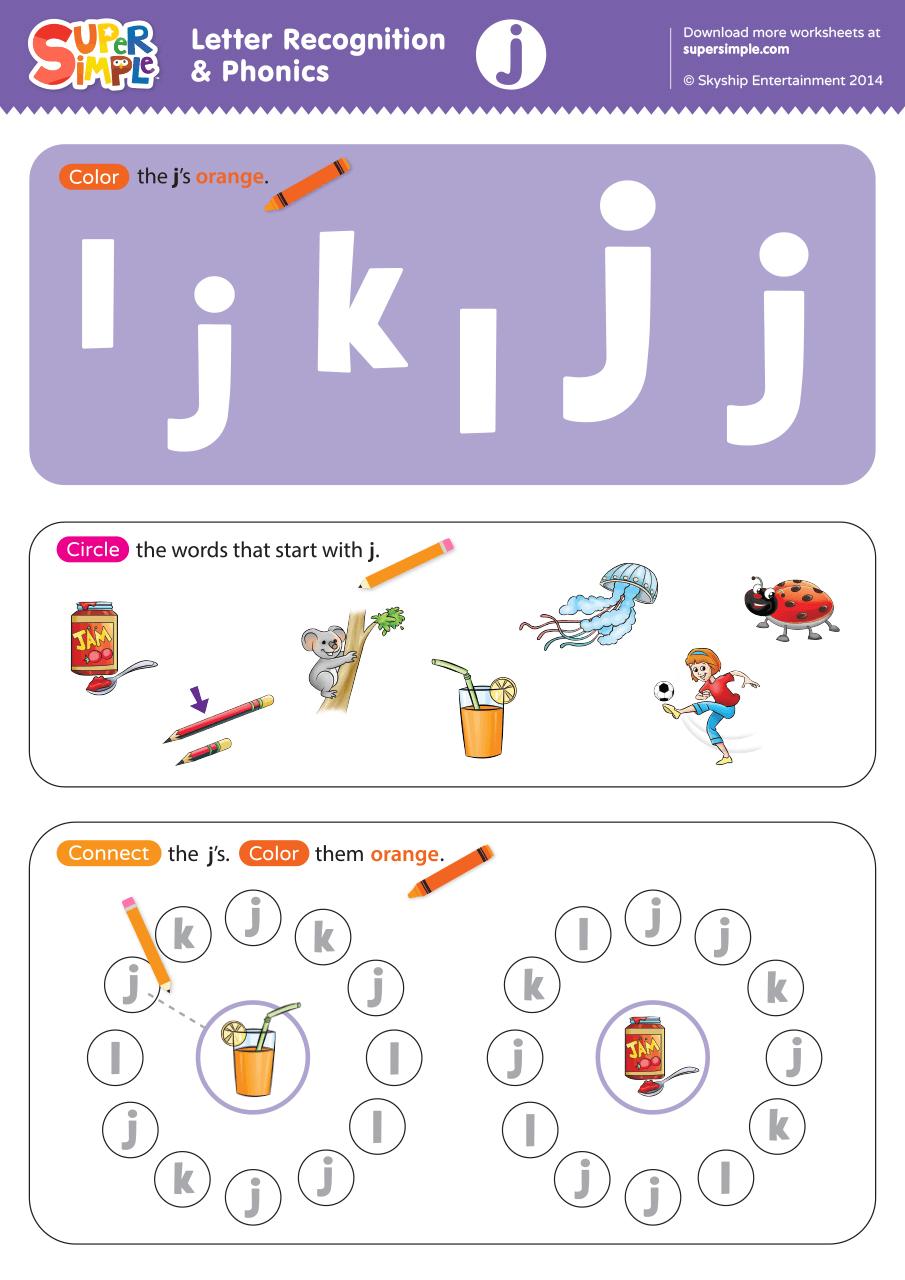 letter recognition phonics worksheet j lowercase super simple. Black Bedroom Furniture Sets. Home Design Ideas