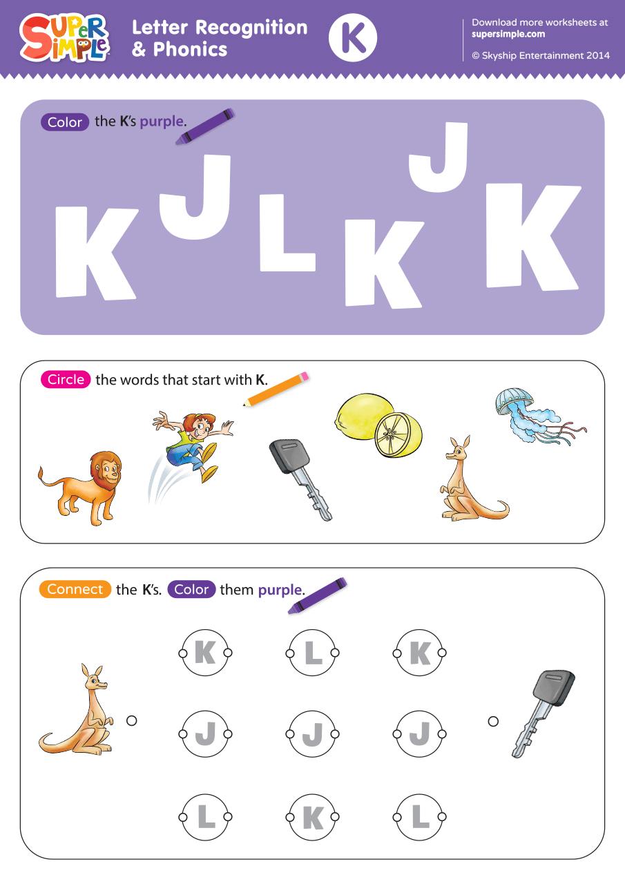 - Letter Recognition & Phonics Worksheet - K (Uppercase) - Super Simple