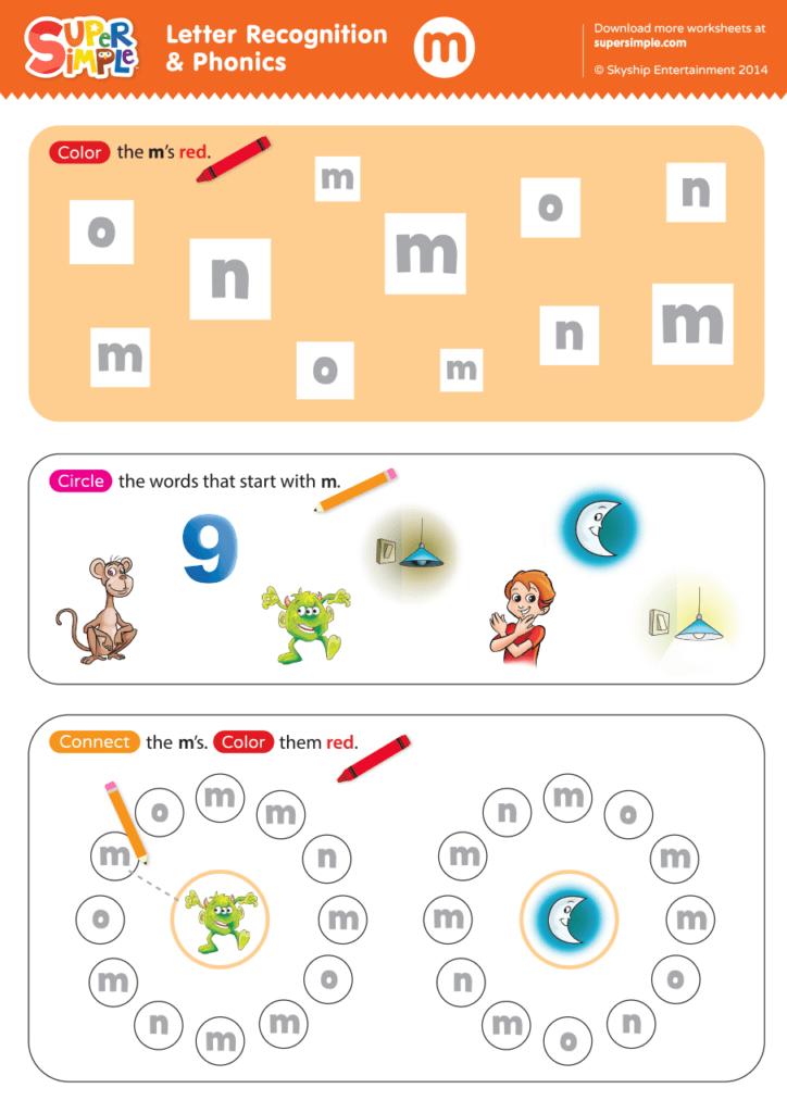 Letter Recognition Phonics Worksheet M Lowercase Super Simple