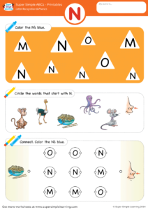 Letter Recognition Phonics Worksheet N Uppercase
