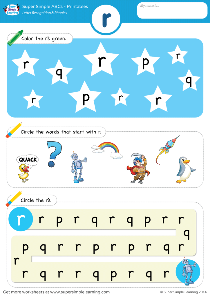 Letter Recognition Phonics Worksheet R Lowercase