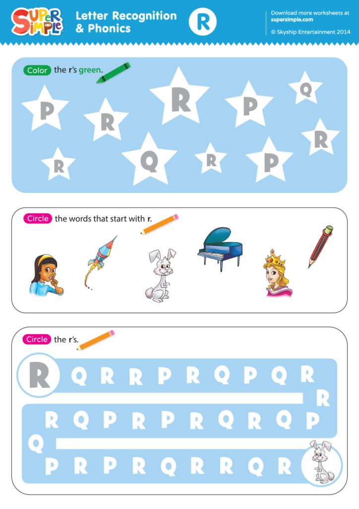 Letter Recognition & Phonics Worksheet - R (Uppercase) - Super Simple