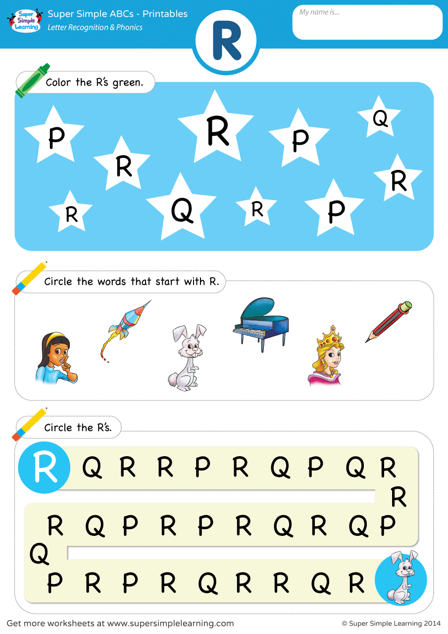 letter recognition phonics worksheet r uppercase super simple. Black Bedroom Furniture Sets. Home Design Ideas