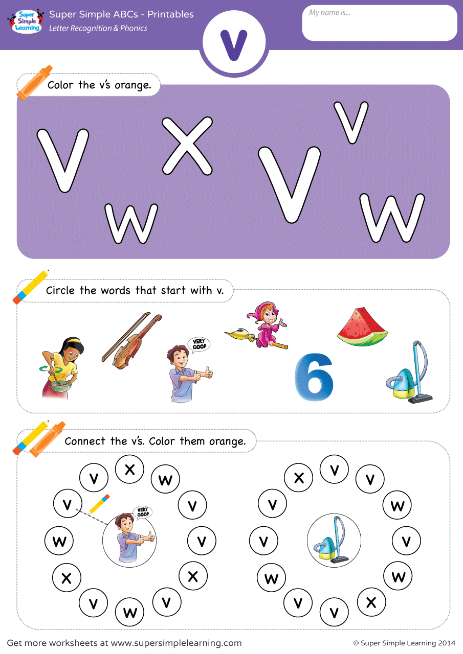 Letter Recognition Phonics Worksheet v lowercase