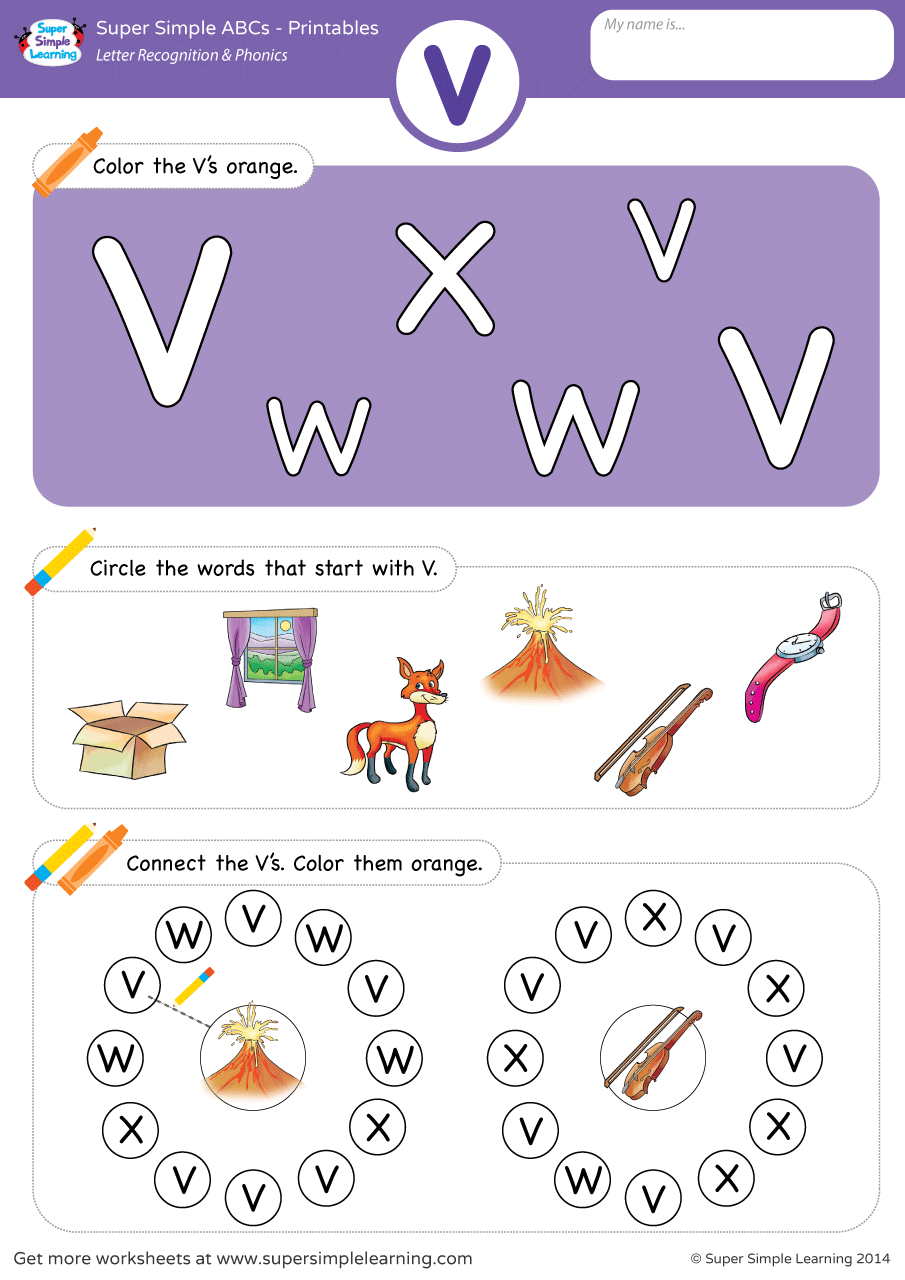 Letter Recognition & Phonics Worksheet – V (Uppercase) | Super Simple