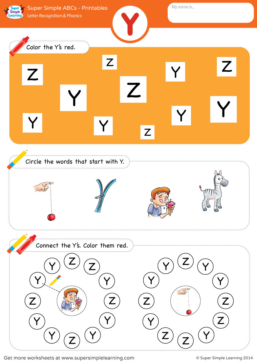 Letter Recognition  Phonics Worksheet  Y Uppercase  Super Simple