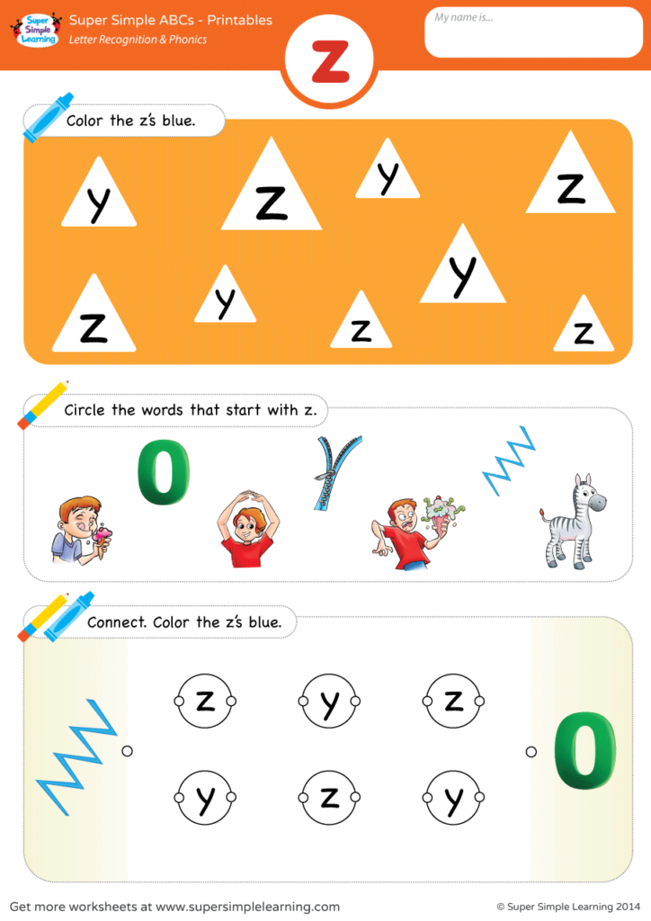 Letter Recognition Phonics Worksheet Z Lowercase Super Simple