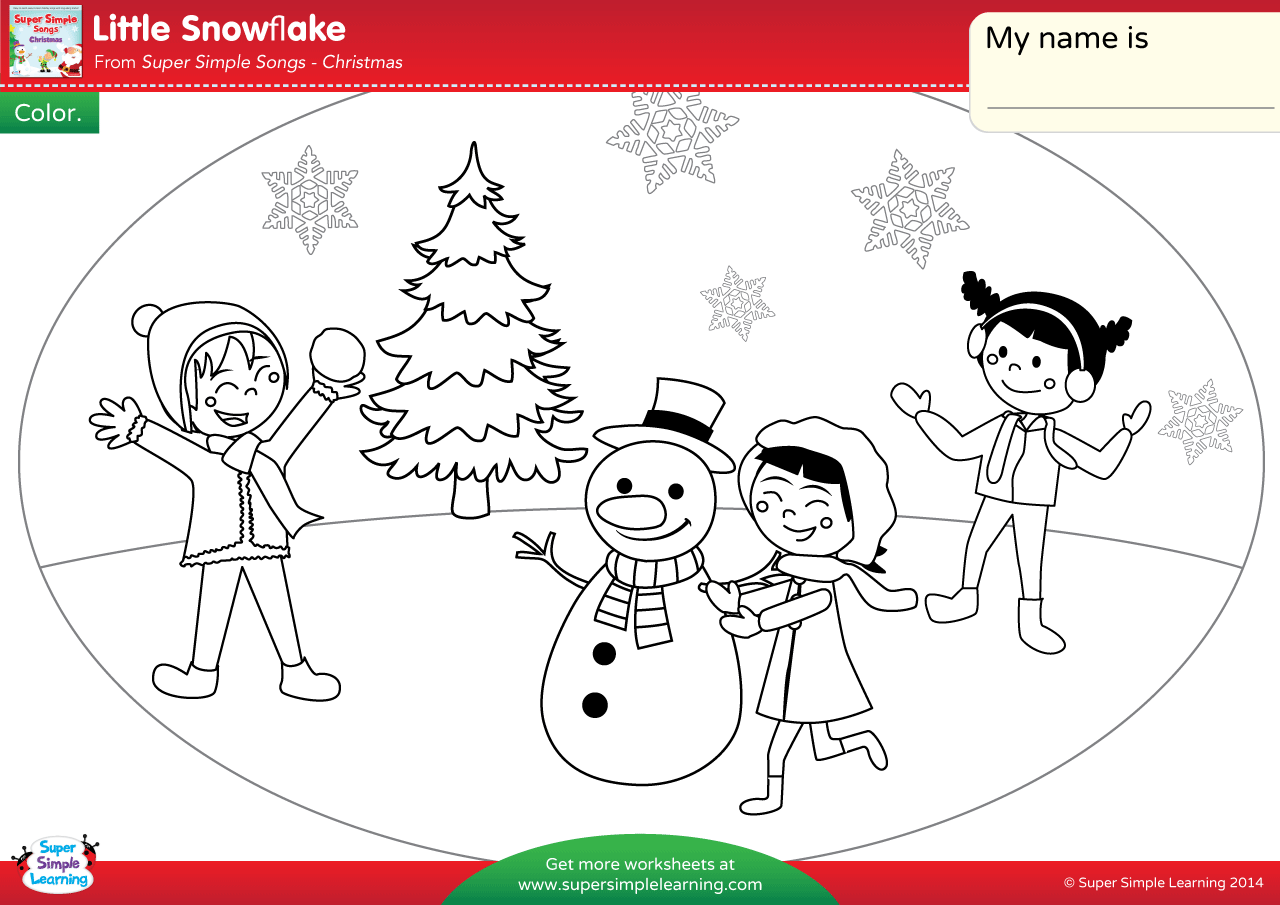 little-snowflake-worksheet-color Color Exercise Worksheet on mental health groups, mental health benefits,