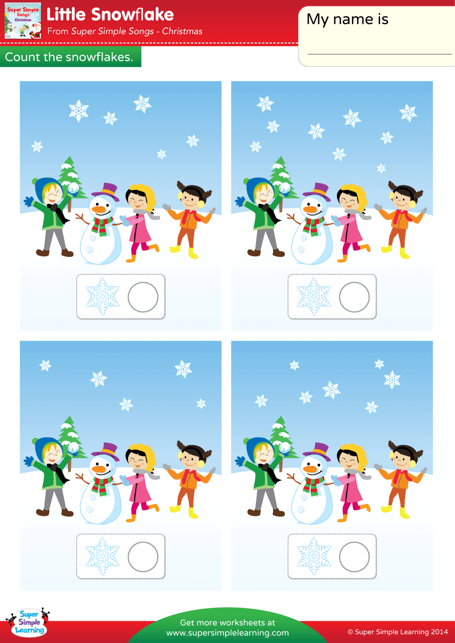 Little Snowflake Worksheet Count The Snowflakes Super
