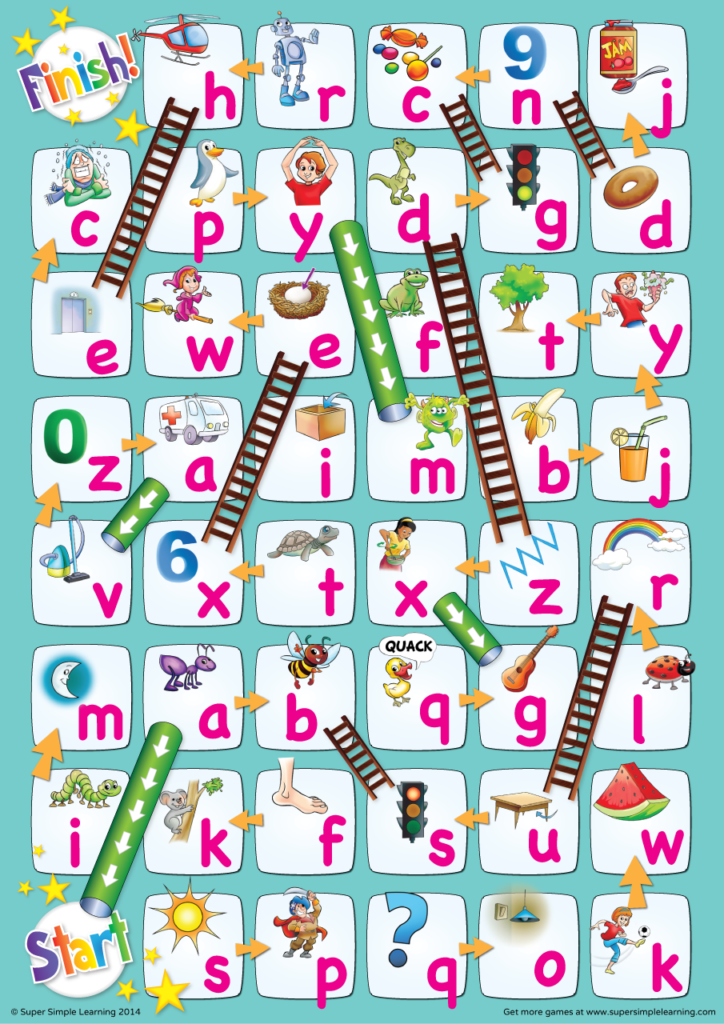 lowercase alphabet chutes ladders game super simple. Black Bedroom Furniture Sets. Home Design Ideas