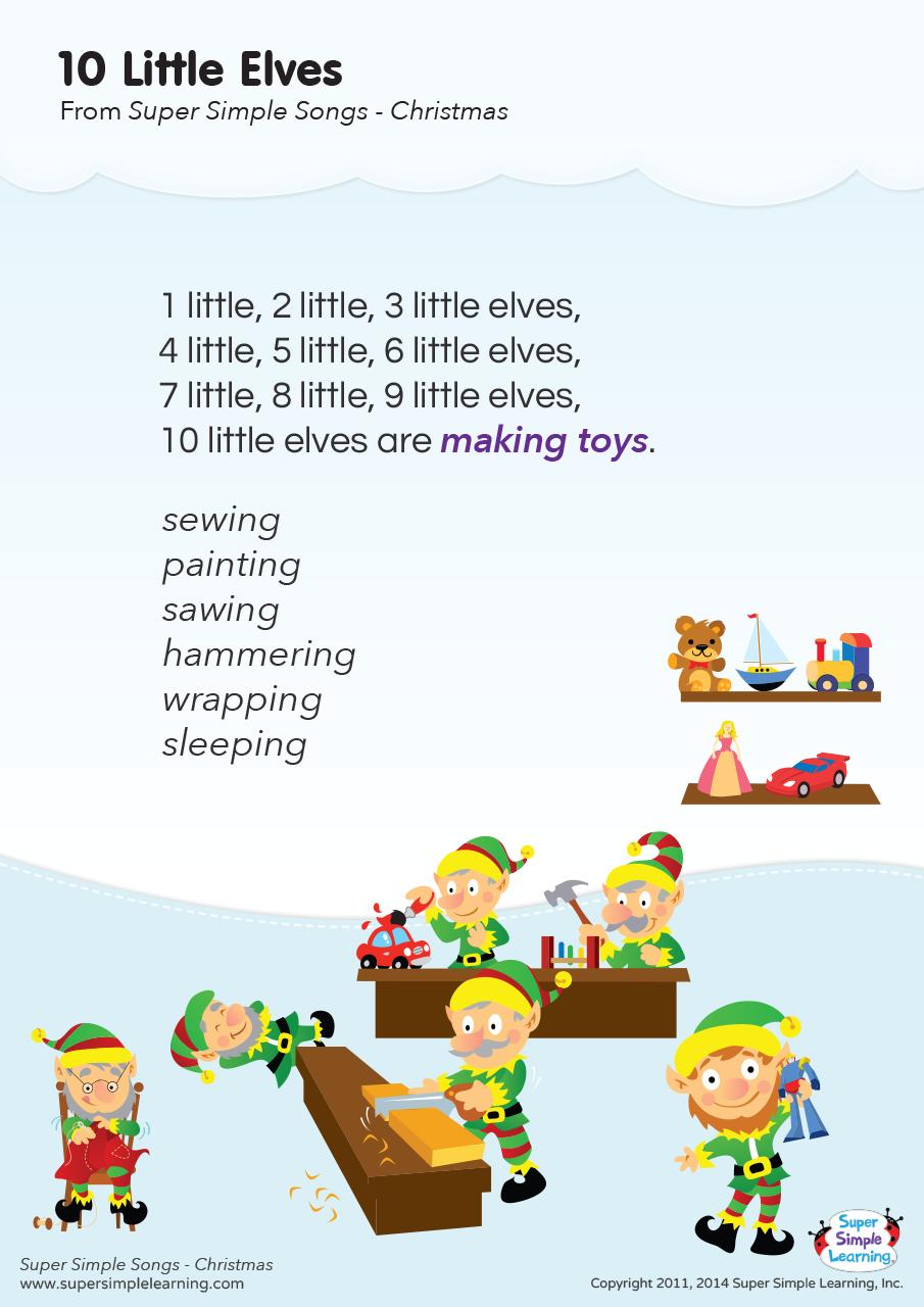 10 Little Elves Lyrics Poster Super Simple