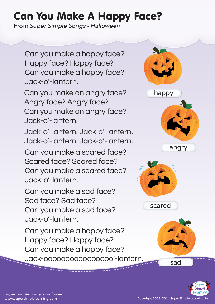 Can You Make A Happy Face? Lyrics Poster - Super Simple