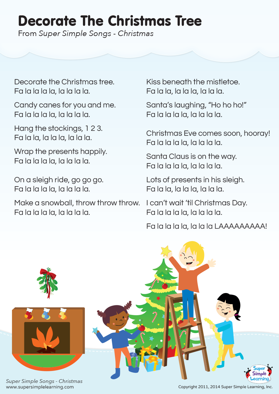 Decorate The Christmas Tree Lyrics Poster Super Simple