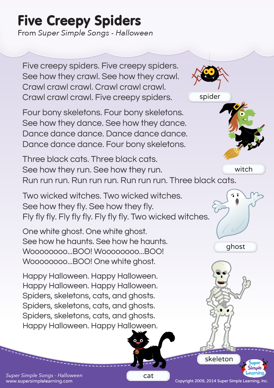 Five Creepy Spiders Lyrics Poster Super Simple