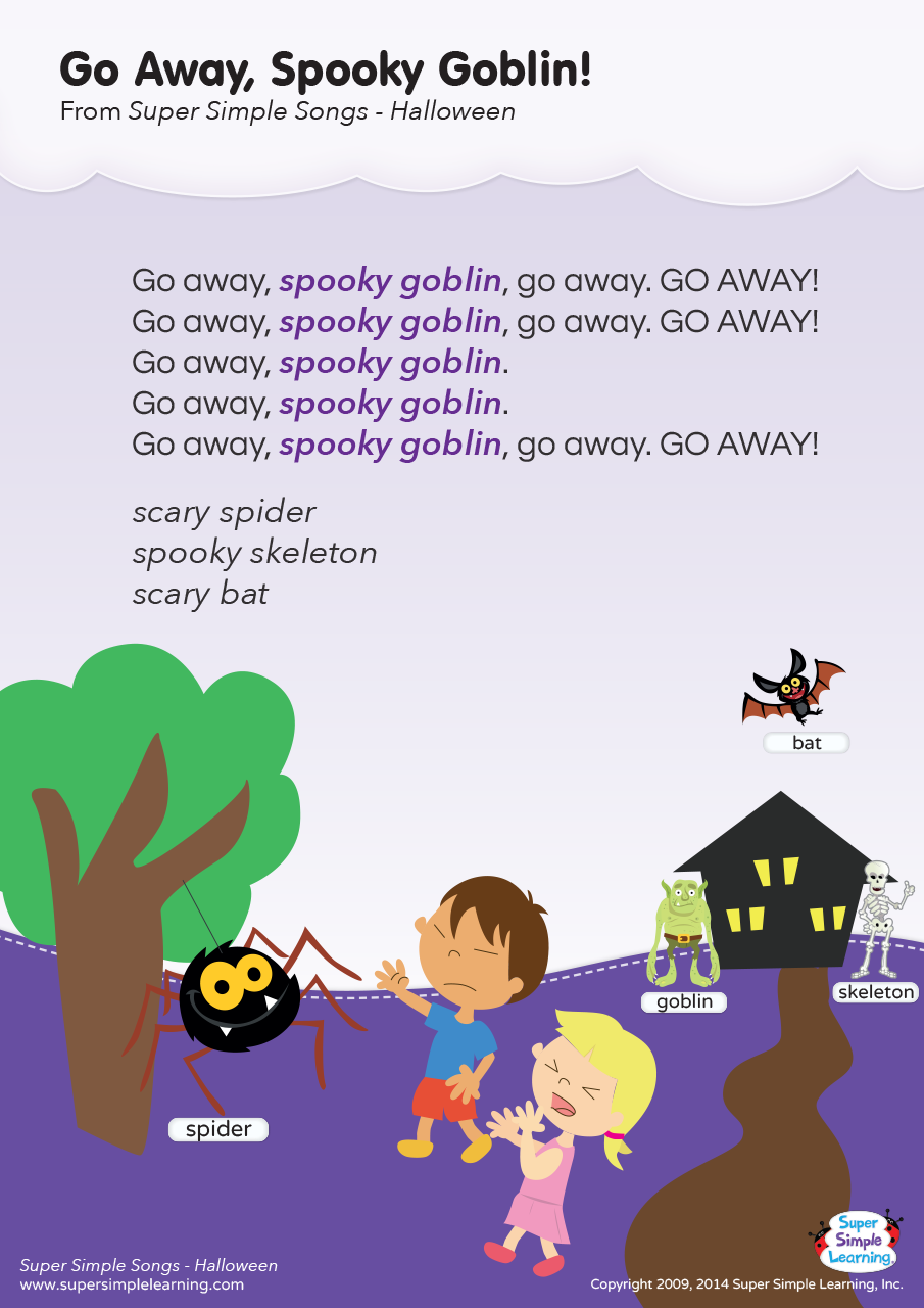 Go Away Spooky Goblin Lyrics Poster Super Simple
