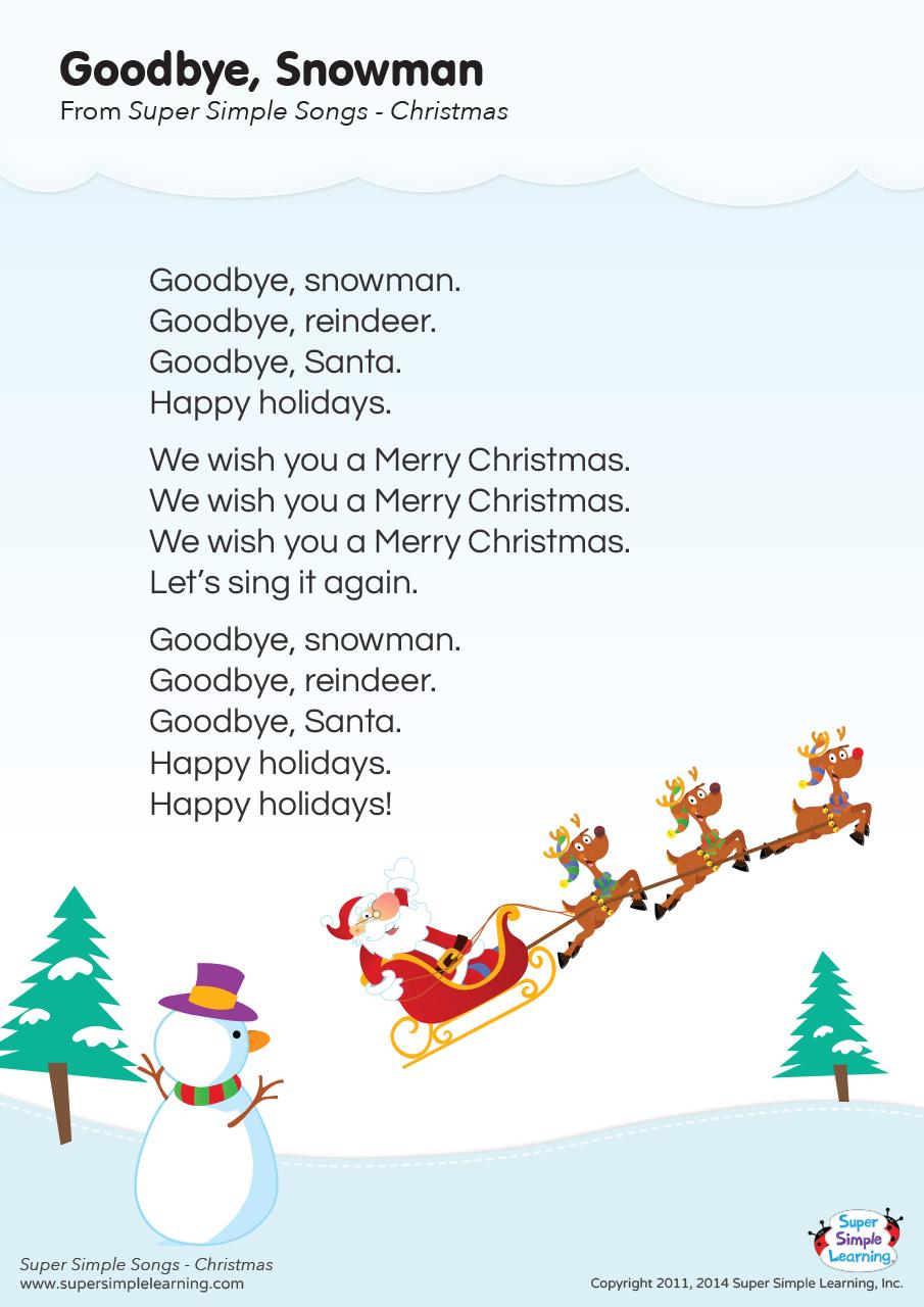Goodbye Snowman Lyrics Poster Super Simple