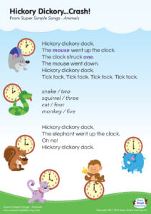 Hickory Dickory Crash Lyrics Poster Super Simple