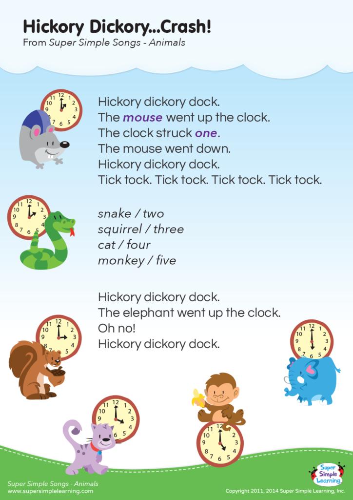 Hickory Dickory Crash Lyrics Super Simple