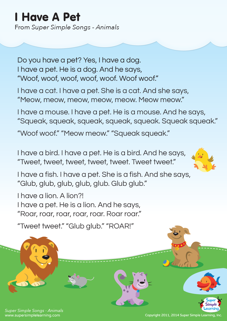 I Have A Pet Lyrics Poster Super Simple