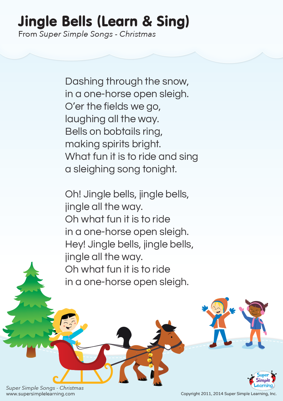 Christmas Bells Are Ringing 2021 Jingle Bells Learn Sing Lyrics Poster Super Simple