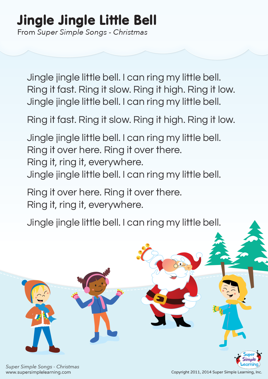 Jingle Jingle Little Bell Lyrics Poster Super Simple