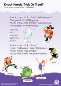 Knock Knock, Trick Or Treat? Lyrics Poster | Super Simple