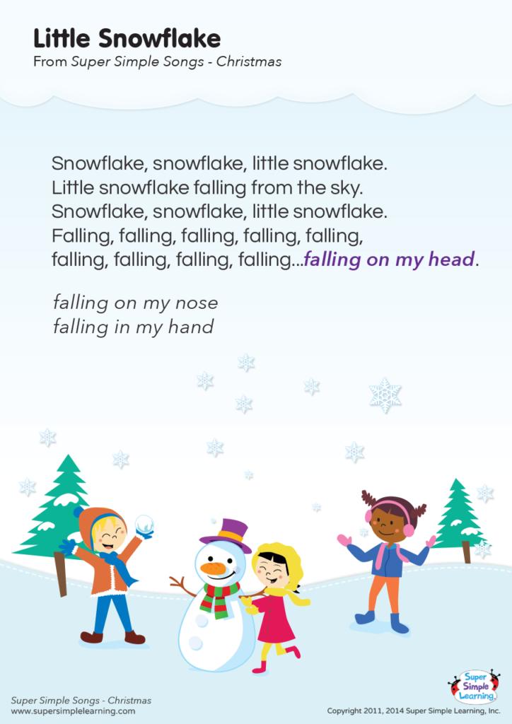 Little Snowflake Lyrics Poster - Super Simple