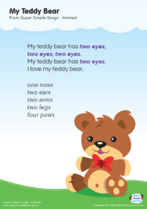 Hang This Lyrics Poster For My Teddy Bear On The Wall In Classroom Or At Home Print It Out Students To Read Along With Class