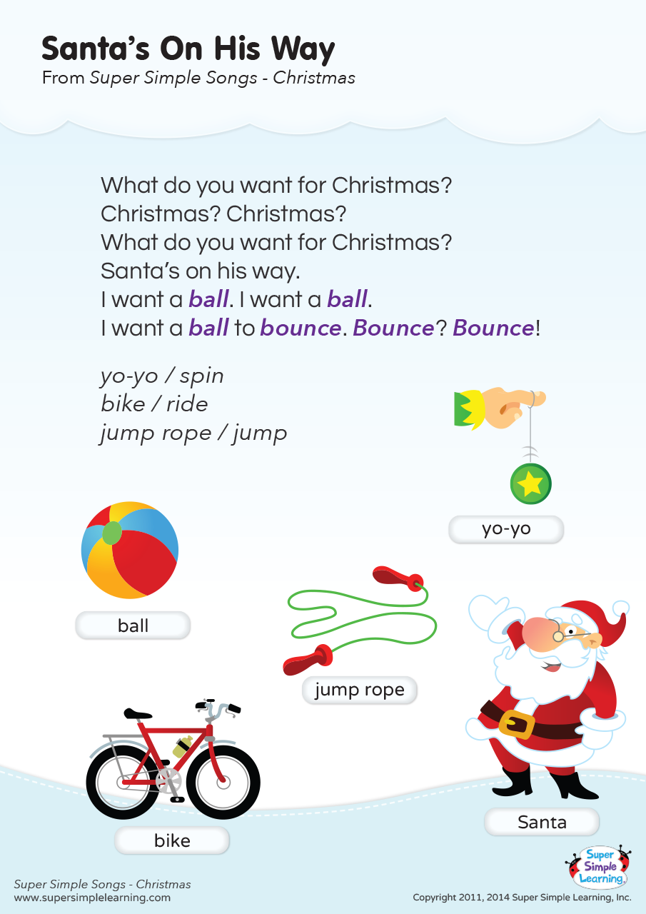 Santa\'s On His Way Lyrics Poster | Super Simple