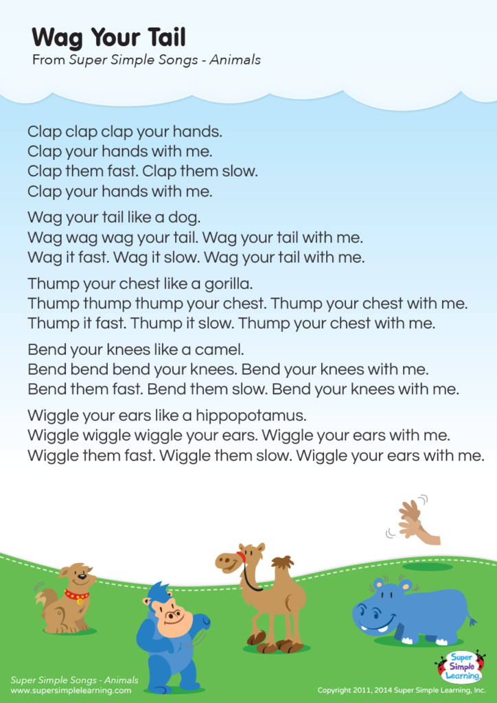 Wag Your Tail Lyrics Poster - Super Simple