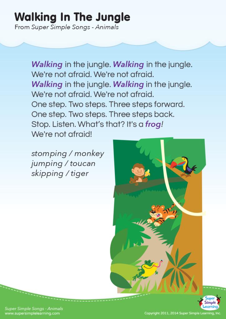 Walking In The Jungle Lyrics Poster - Super Simple
