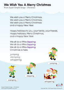 hang this lyrics poster for we wish you a merry christmas on the wall in the classroom or at home print it out for students to read along with at home or - Merry Merry Merry Christmas Lyrics