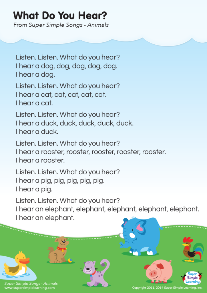 What Do You Hear? Lyrics Poster - Super Simple
