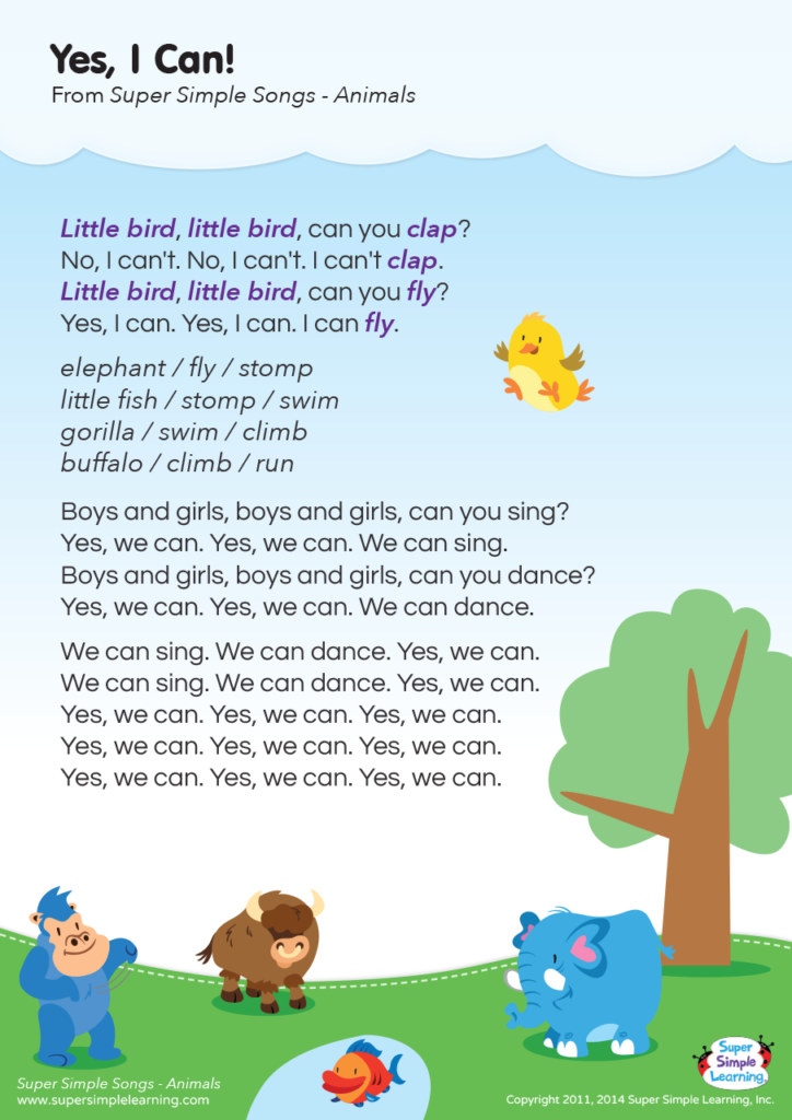 Yes, I Can! Lyrics Poster - Super Simple