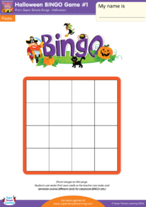 Halloween bingo game 1 super simple make your own halloween bingo cards with this do it yourself set cut out the small pictures and glue them onto the board kids can make their own board solutioingenieria Image collections