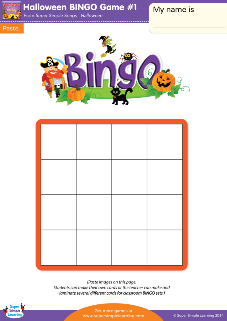 picture about Free Printable Halloween Bingo Cards known as Halloween BINGO Sport #1 - Tremendous Very simple